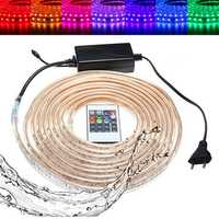 10/15M SMD5050 LED RGB Flexible Rope Outdoor Waterproof Strip Light + Plug + Remote Control AC220V