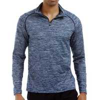 Men's Sportswear Long Sleeve Zipper Neck T-Shirts