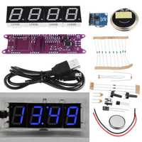 Geekcreit® EC1840 DS3231 Red/Green/Blue/White DIY Light Control Broadcasting Time Music Electronic Clock Kit Without Housing