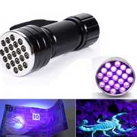 21 UV LED Portable Aluminum Ultra Violet Flashlight 3xAAA