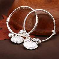 2Pcs Baby Longevity Lock Safety Lock Silver Bell Children Bracelet