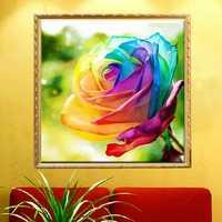 30x30cm 5D DIY Colofrul Rose Diamond Painting Resin Full Rhinestone Flower Cross Stitch Kit