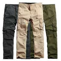 Mens Washed Cotton Cargo Pants Solid Color Multi Pockets Outdooors Loose Trousers