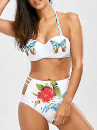2PC Printing Halter Underwire Padded Backless Swimsuit