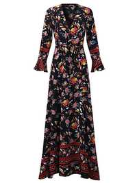 OEUVRE Bohemian V-Neck Printed Wrap Dress