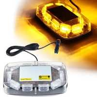 12V-24V 30 LED Mini Amber Flashing Emergency Light Bar Strobe Rotating Beacon Warning Lamp