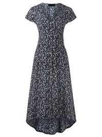 Floral Print V-neck Back Tie Asymmetric Short Sleeve Dress