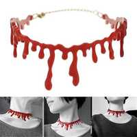 Halloween Horror Blood Drip Necklace Fake Blood Vampire Fancy Joker Choker Costume Red Necklaces