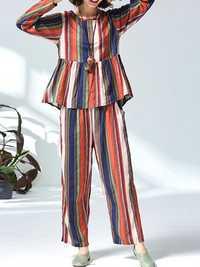 Women Casual Cotton Linen Striped Tops+Pants Set