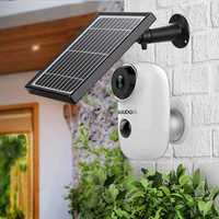 GUUDGO A3 and Solar Panel Wireless Rechargeable Battery-Powered Security Camera for Outdoor Indoor Home Surveillance 130degree Wide View 2-Way Audio Starlight Night Vision PIR Motion Sensor SD Card