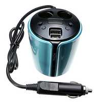 YZD-V9 Multifunctional 5V 3.1A Car Charger Adaptor Car Cup Holder 2 Port Car Cigarette Lighter
