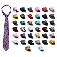 50 colors Men Tie Polyester Hanky Cuff Links Set Neckwear Wedding Business Accessories
