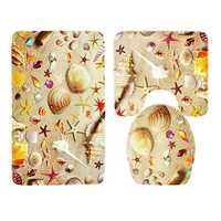 3 Sets Starfish Shell Toilet Carpet Bathroom Non-Slip Pad Toilet Seat Cushion Fabric