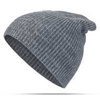 Women Mens Solid Woolen Warm Knit Beanie Cap Adjustable Windproof Winter Hat