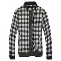 Men Fall Winter Cotton Blend Plaid Stand Collar Zipper Sports Elastic-bound Cuffs Jacket Coat