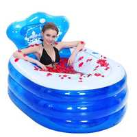 145 x 80 x 45CM Foldable Inflatable Bathtub Portable Adult with Air Pump Steam Spa Sauna Plunge Bath