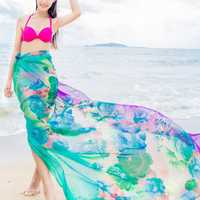 Women Sexy Silk Floral Printed Beach Towel Summer Thin Sunscreen Soft Shawls Dual Wraps