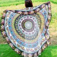 Honana WX-92 150cm Bohemian Thin Chiffon Beach Mat Mandala Round Silk Scarf Bed Sheet Tapestry