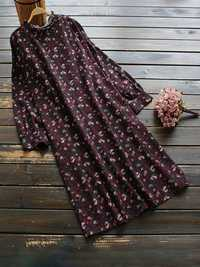 Women Retro Floral Print Crew Neck Long Sleeve Dress