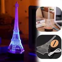 3D Blue Eiffel Tower USB LED Desk Lamp Bedroom Table Night Light Decorative Gift