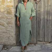 TWO-SIDED Mens Loose Hooded Vintage Pocket Splits Kaftan