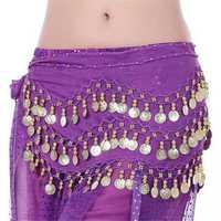 3 Row Belly Dance Hip Skirt Scarf Belt Waistband Dance Performance Supplies
