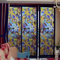 Static Window Films 3 Meters Orchid PVC Films Window Decals Non-glue Fork Art Glass Bathroom