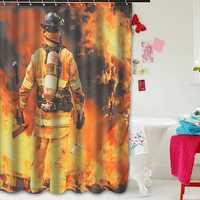 Waterproof Polyester Fabric Shower Curtain Firemen Design Bathroom Home Decoration
