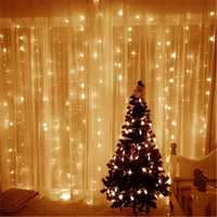 3M*3M 304LED White Warm White Party Decoration String Light Curtain Home Fairy Lamp US Plug AC220V