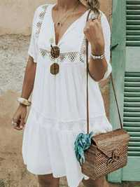 Daily Casual V-neck Short Sleeve Hollow Holiday Loose Dress