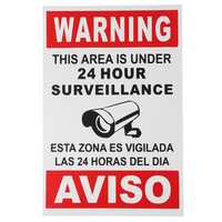 English Spanish Security Warning Sign Camera Sticker Warning This Area Is Under 24 Hour Surveillance