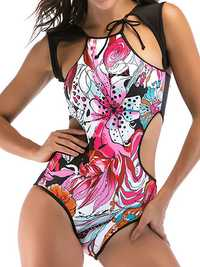 Sexy Hollow Out Stylish Printing Padded One Piece Swimsuit