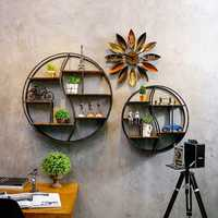 59/80cm Round Shelf Metal Wood Storage Bookcase Wall Mounted Bracket Room Decor