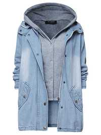 O-NEWE S-5XL Women Plus Size Denim Drawstring Twinset Hooded Jacket