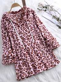 Women Retro Fleece Leopard Print Hooded Sweatshirt