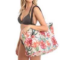 Brenice Women Canvas National Floral Beach Tote Handbag Summer Shoulder Bag