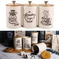 3Pcs Retro Tea Coffee Sugar Canisters Jars Pots Tins Kitchen Storage Container