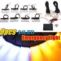 8PCS 24LED Emergency Lights Warning Strobe Flash Lamp Bars Amber White 12V for Car Truck