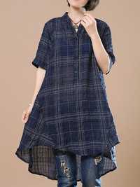 Women Short Sleeve Plaid Irregular Cotton Blouse