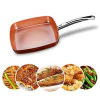 Non-stick Copper Square Pan with Ceramic Frying Pan Copper Oven & Dishwasher Chef Square Fry Pan