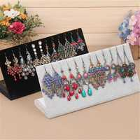 Jewelry Display Velvet L Shaped Stand Holder Rack