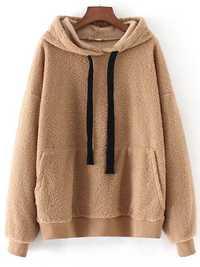 Women Long Sleeve Solid Color Pullovers Hooded Sweatshirt
