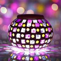 Solar Power Red Blue Mosaic Colorful LED Light Garden Waterproof Glass Ball Decoration Lamp