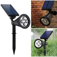 2-in-1 Garden Solar Light 4 LED Solar Spotlight Adjustable Outdoor Wall Lamp Landscape Security Lighting for Patio Deck Yard