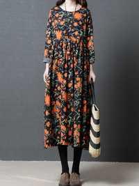Vintage Floral Print O-neck Long Sleeve Dress