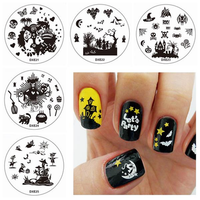 Halloween Nail Art DIY Stamp Set Monster Bat Stamping Printing Image Template Plates