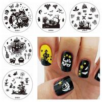 Halloween Nail Art DIY Stamp Set Monster Bat Stamping Printing Image Template Plates