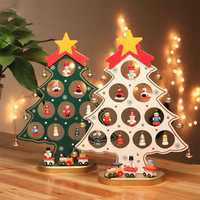 Christmas DIY Wooden Christmas Tree Ornament Gift for Children Home Table Decoration Party Supplies