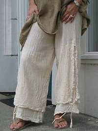 Casual Solid Color Linen Cotton Women Pants