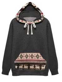 Casual Women Velvet Fawn Printed Patchwork Long Sleeve Hooded Sweatshirt